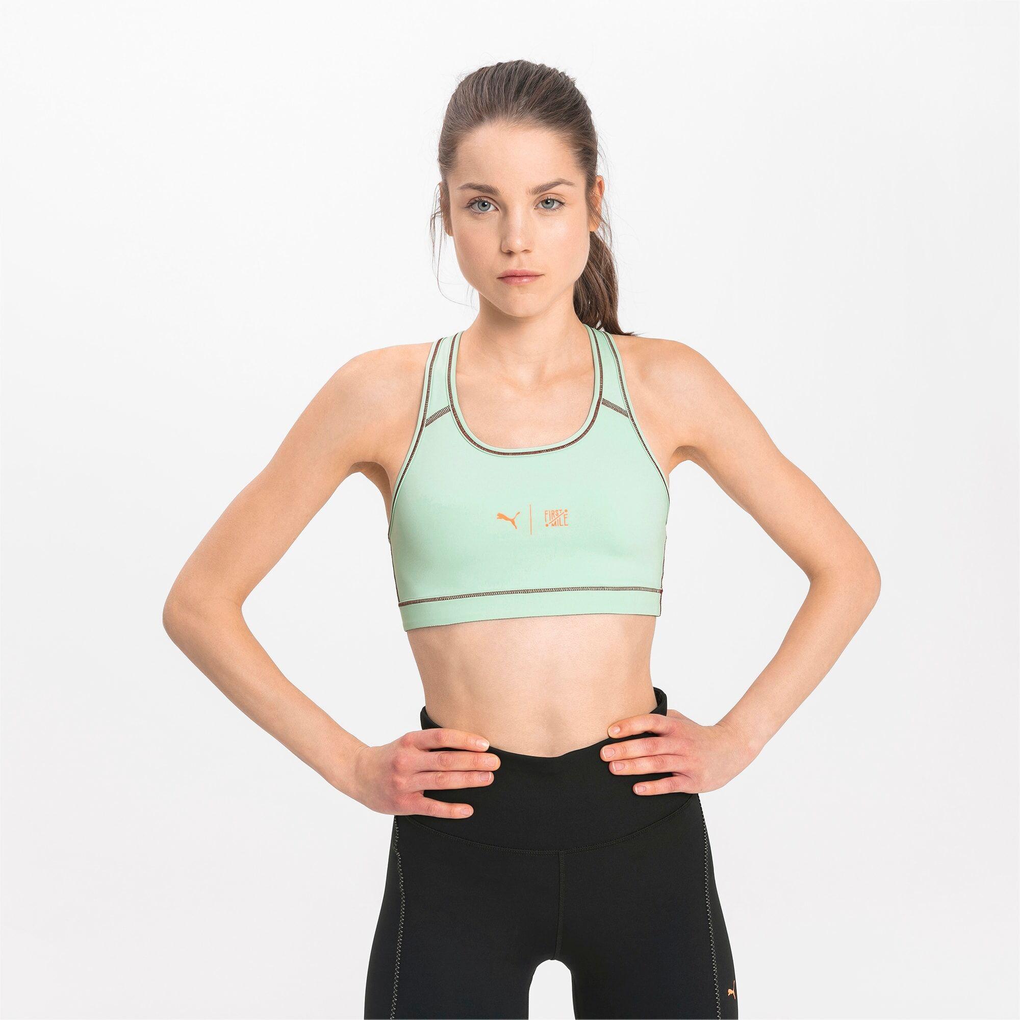 PUMA Soutien-gorge de sport PUMA x FIRST MILE 4Keeps, Vert/Noir, Taille L, Vêtements