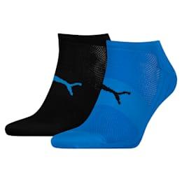 PUMA Lot de deux paires de chaussettes Performance Train Light, Noir/Bleu, Taille 35-38, Vêtements
