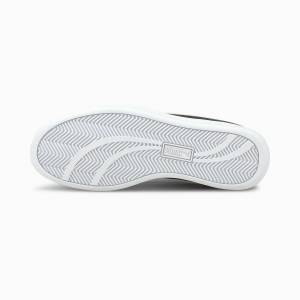 PUMA Chaussure Basket Smash en cuir, Noir/Blanc, Taille 35.5, Chaussures - Publicité