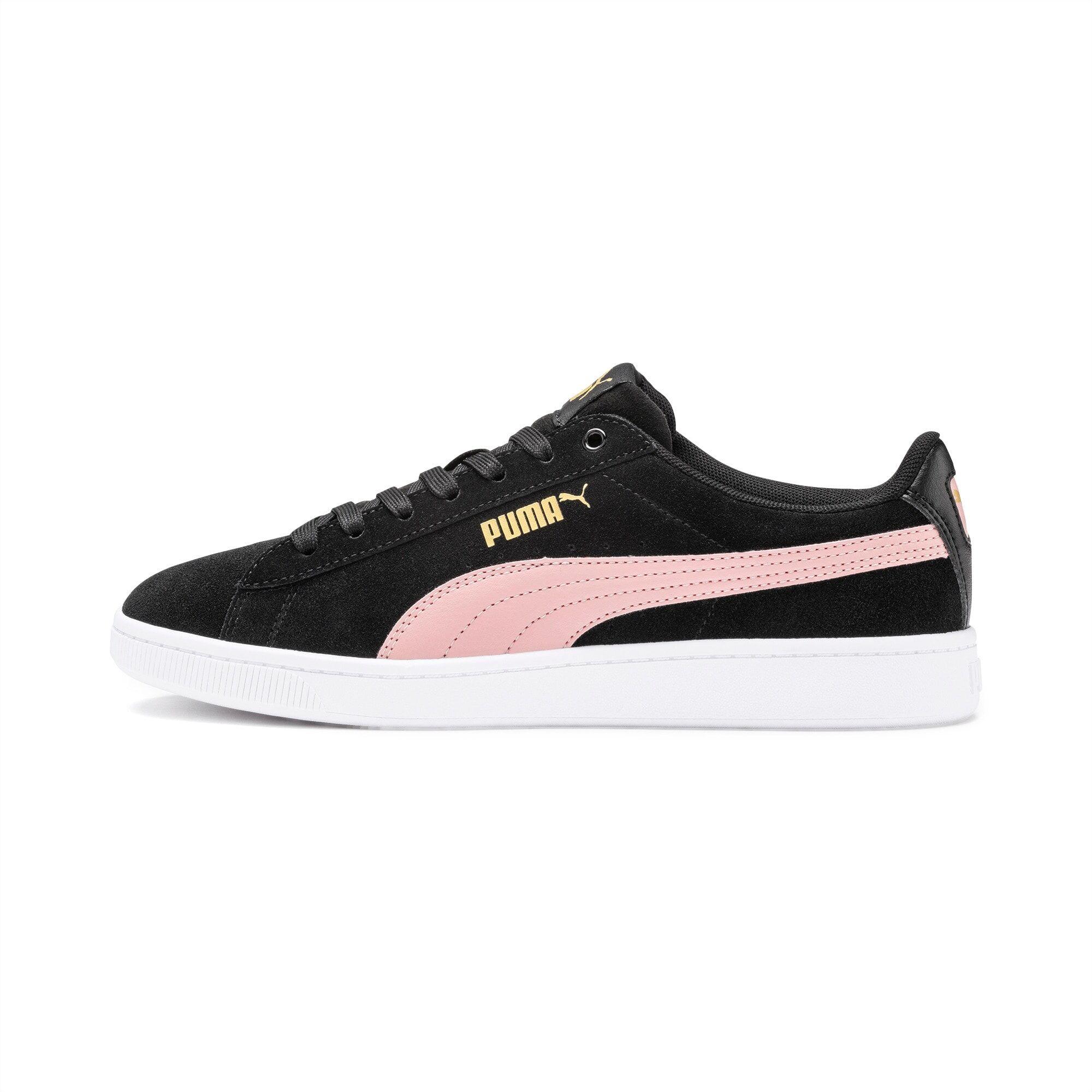 PUMA Chaussure Basket Vikky v2 pour Femme, Blanc/Rose/Noir, Taille 35.5, Chaussures