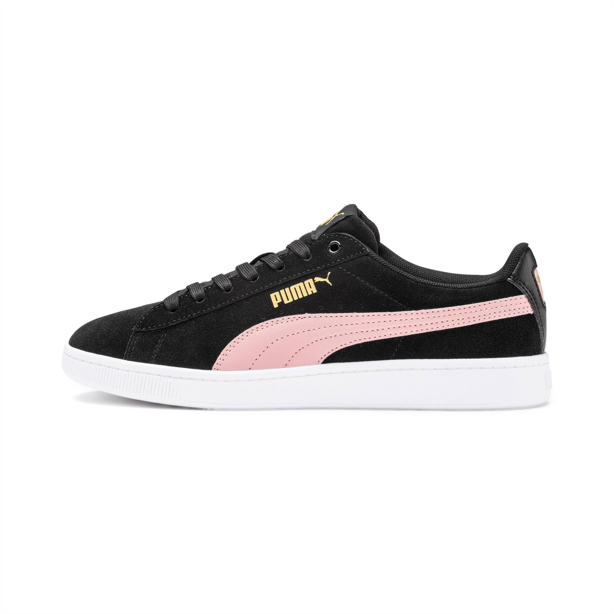 PUMA Chaussure Basket Vikky v2 pour Femme, Blanc/Rose/Noir, Taille 40.5, Chaussures