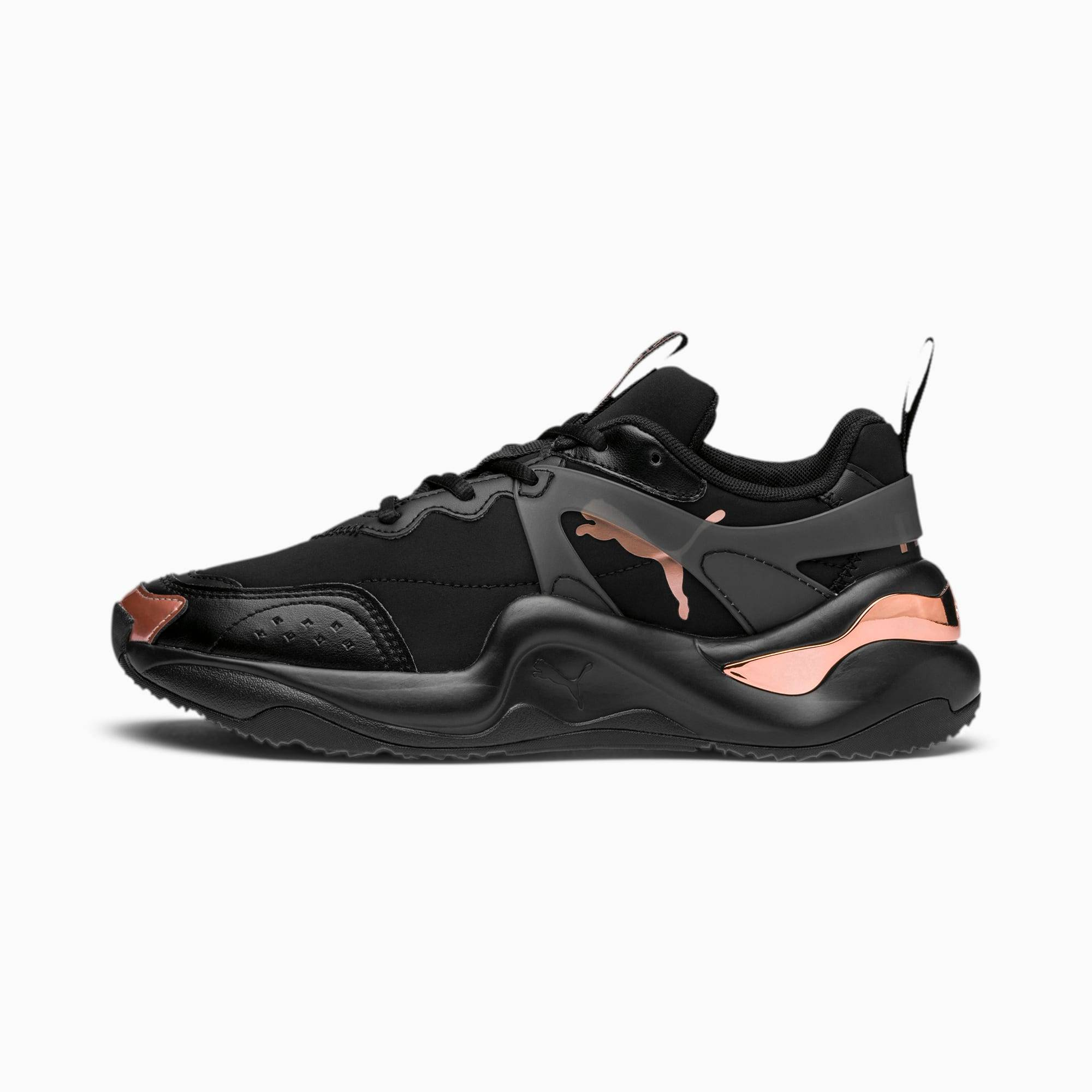 PUMA Chaussure Basket Rise Neoprene pour Femme, Or/Rose/Noir, Taille 40.5, Chaussures