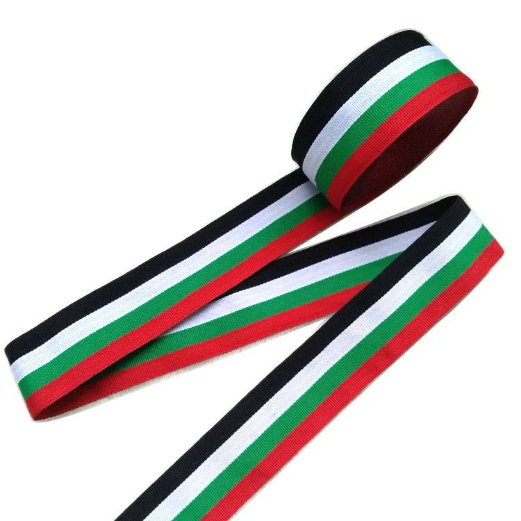 WT41 fabricant fournir 3.8cm large bande sangle haute densité bande en noir blanc rouge vert couleurs