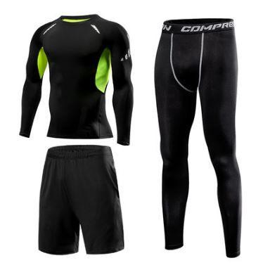 Ensemble de 3 pièces de Fitness pour hommes   Ensemble legging de Sport à Compression RTS, combinaison de jogging, anti-transpiration