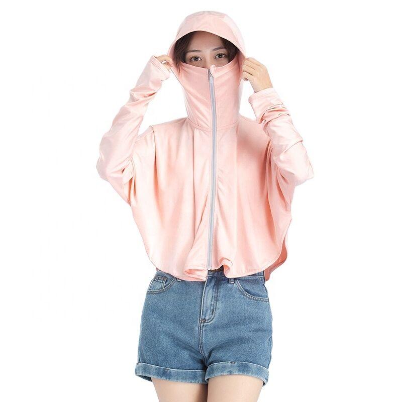 En gros en stock pas cher nouveau style intégral à capuche filles glace soie vêtements de plage pare-soleil cape femmes vêtements de protection solaire