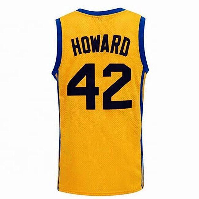 Livraison gratuite #42 film maillot Howard cousu maillots de basket-ball couleur jaune
