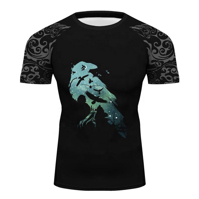 Hommes D'entraînement 3D Impression Nuit Roi Corbeau T-shirt Anti-uv Vêtements D'été Garde de Nuit Tees pour la Fête des Pères fitness Rash Guards