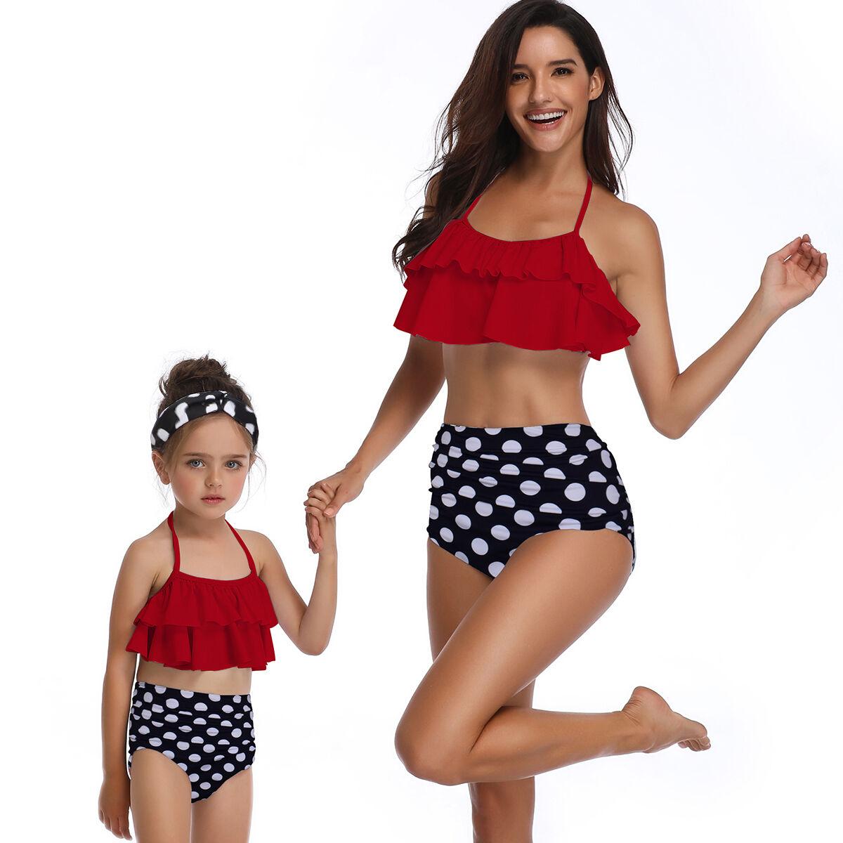 Bébé fille maillot de bain Deux Pièces Maillots De Bain Famille Correspondant À Volants Dos Nu Maillot de Bain Taille Haute
