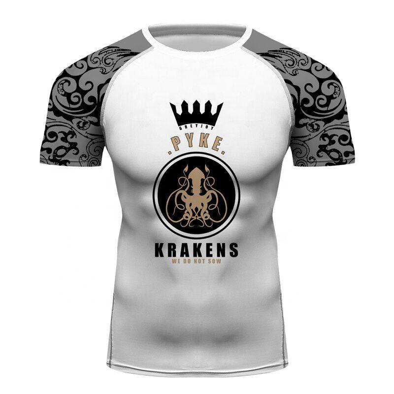 Hommes Compression Serrée T-shirt Maison Greyjoy Impression Complète T-shirt Anti-uv Lycras pour Fitness MMA Activités de Plein Air