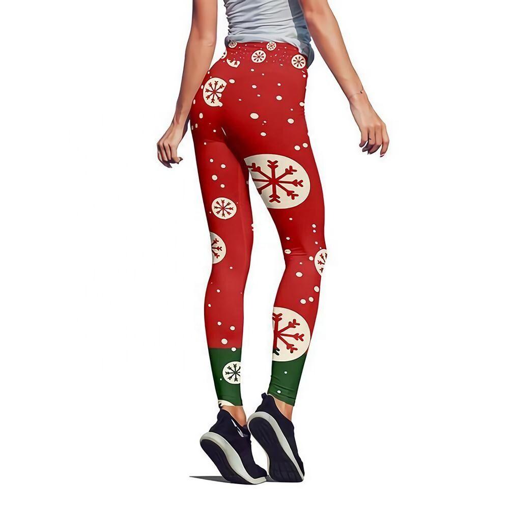 Écologique femmes pantalon de noël rouge personnalisé numérique impression leggings