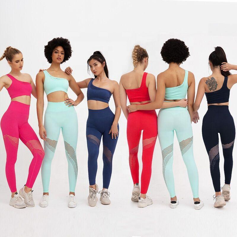 Faible quantité de commande ODM & OEM appui antichoc matériau écologique asymétrique soutien-gorge de sport pantalon ensemble 2 pièces