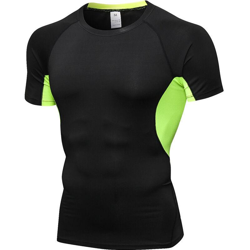 Homme Décontracté Slim Fit T-Shirt À Séchage Rapide Anti-Transpiration Sport Tops Doux Chemise de Compression
