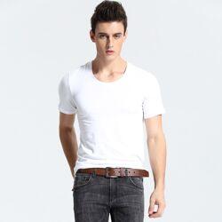 95% coton 5% spandex col rond hommes T-shirt à manches courtes
