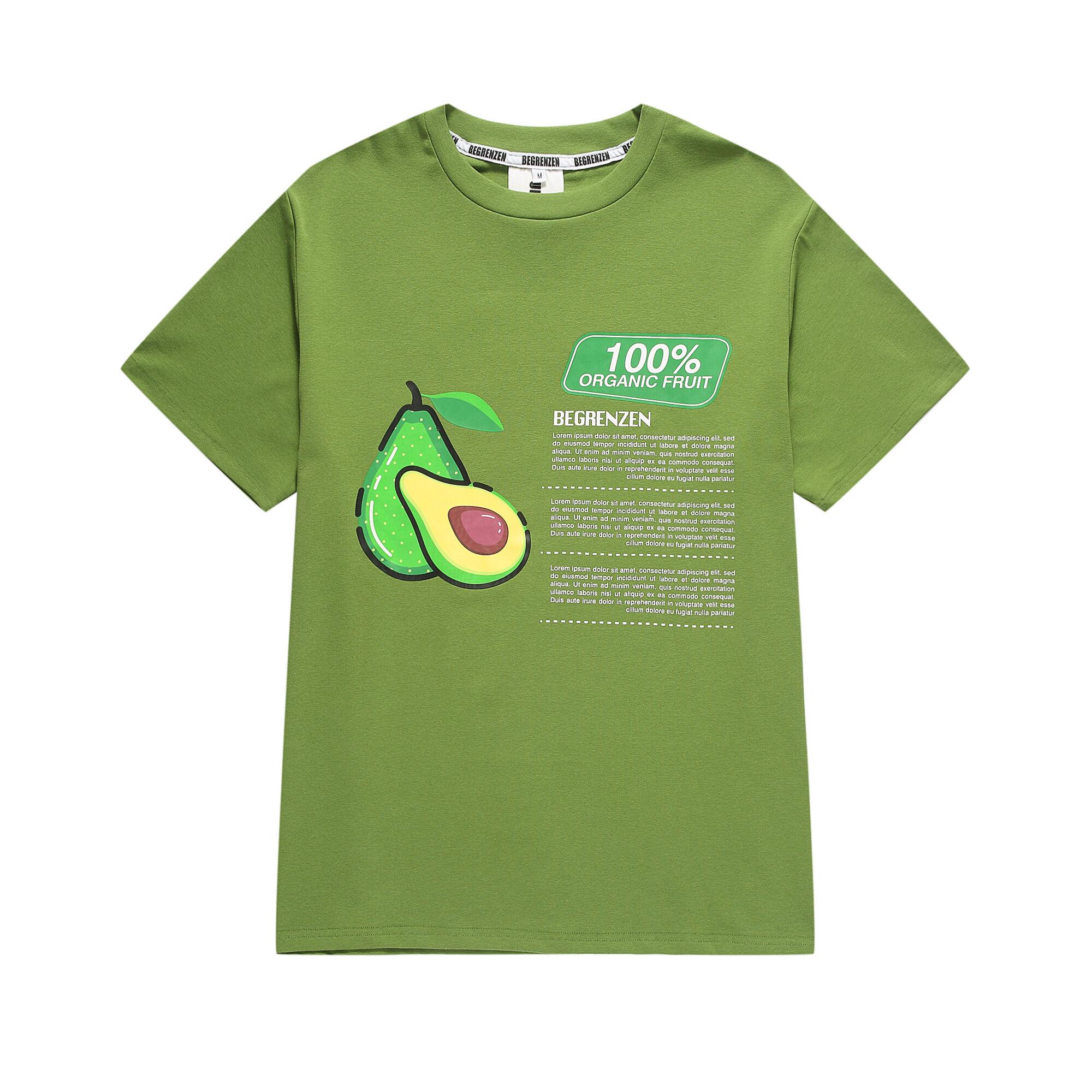 T-shirts manches courtes homme femme   Hip hop, alphabet de la rue avec imprimé de fruits d'avocat