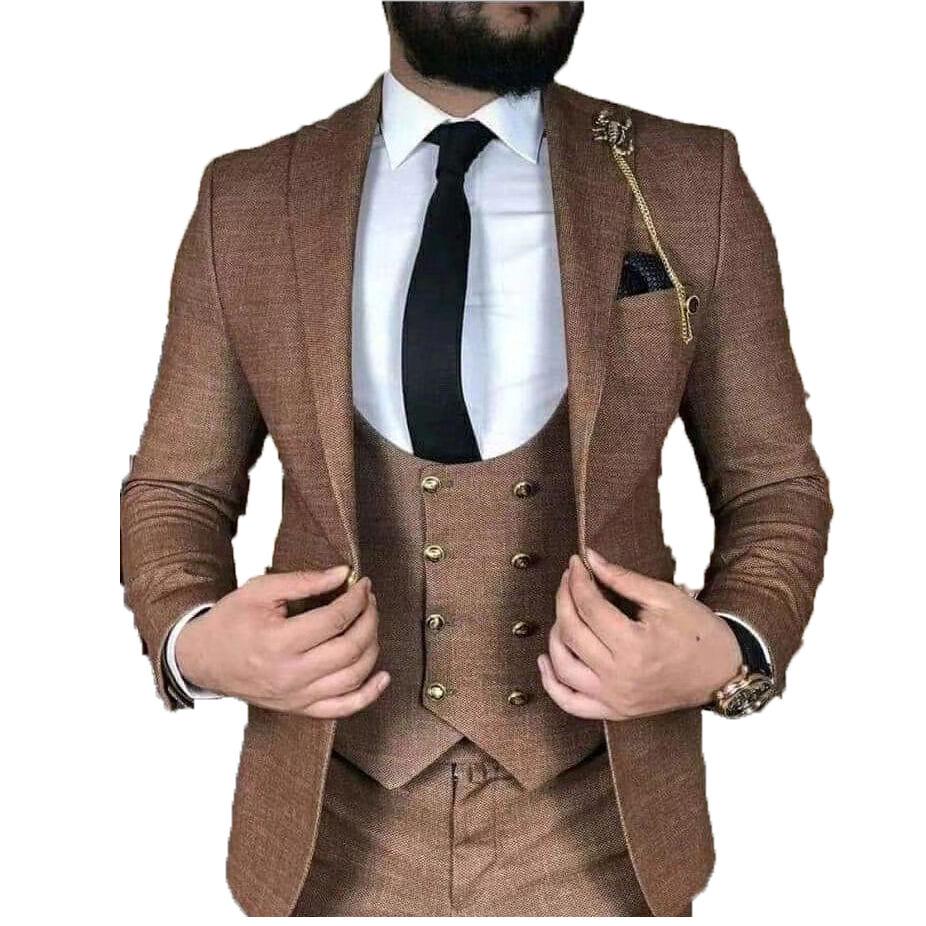 Morili Haute qualité bouton Slim Fit Costumes De Mariage Pour Homme Marié Homme 3 Pièces costumes de fête meilleur costume homme MMSB82