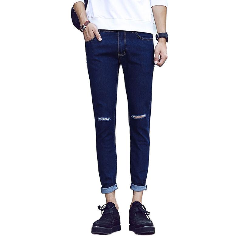 En Stock En Gros Nouveau Populaire Petits Pieds Couleur Pure Droite Crayon Pantalon Pas Cher Veau Trou Skinny Décontracté Jeans Déchirés
