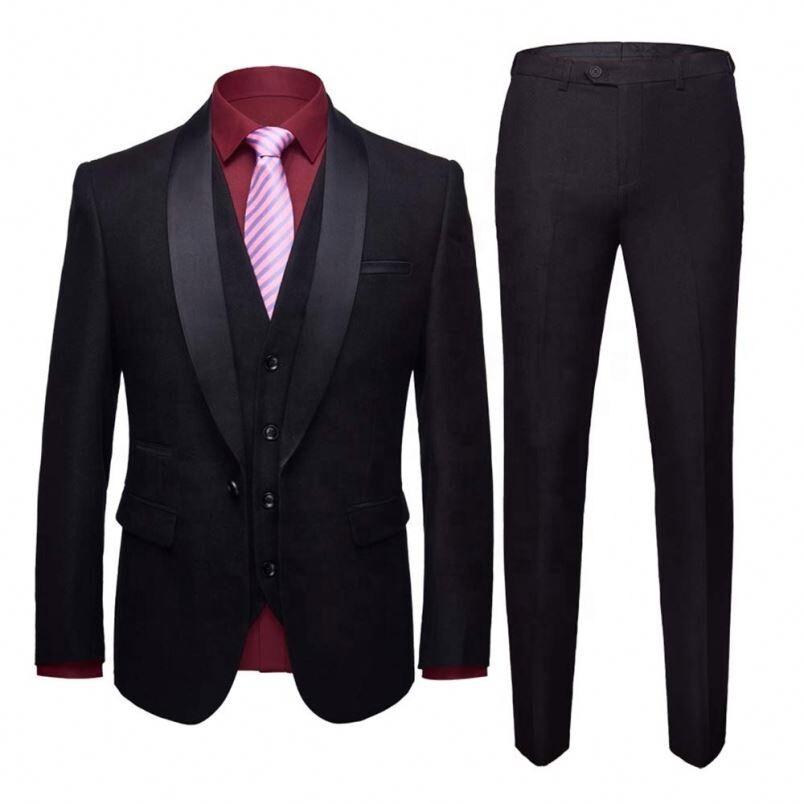 Costume 3 pièces à revers de châle   Slim Fit, costume avec un bouton, Blazer, veste et pantalon, gilet Tux