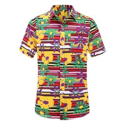 Chemise à manches courtes pour homme   Chemise en coton, personnalisée, imprimée de fleurs, hawaïenne, avec boutons