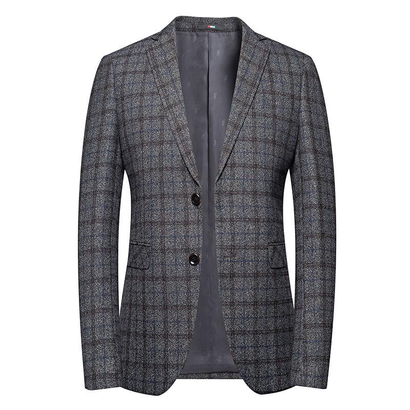 Costumes personnalisés étiquette 83.9% Polyester16.1 % Viscose Deux boutons couleur Gris Moyen blazers pour hommes