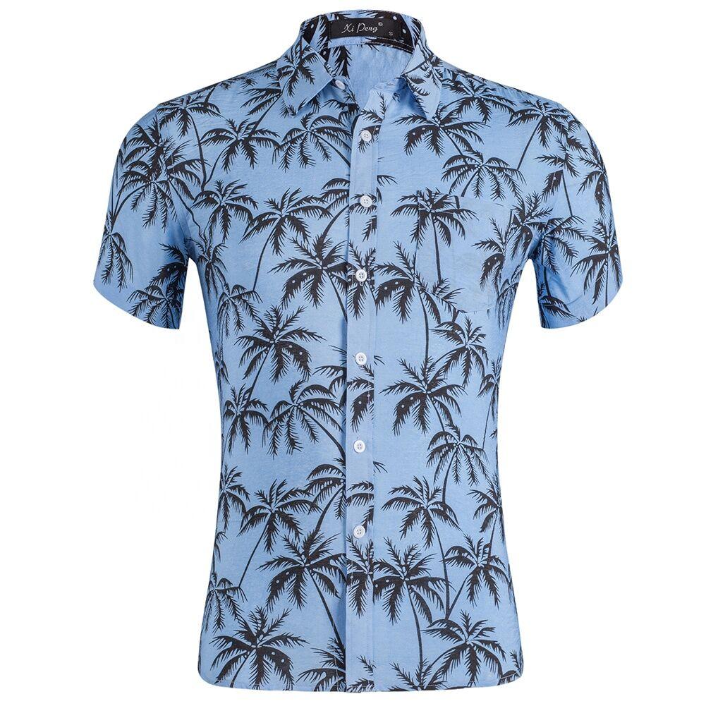 Personnalisé imprimé d'été boutonné chemises hawaïennes aloha pour hommes