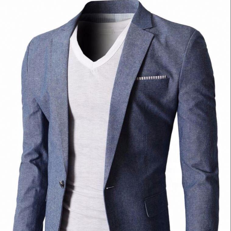 Hommes Slim Fit Costumes Casual Solide Léger Vestes Blazer à Un Bouton Poches À Rabat