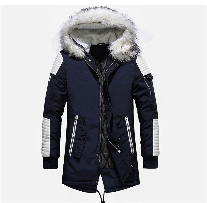 Veste d'hiver à capuche homme   Livraison gratuite, décontractée longue vêtements d'extérieur, veste chaude et épaisse, manteaux pour hommes
