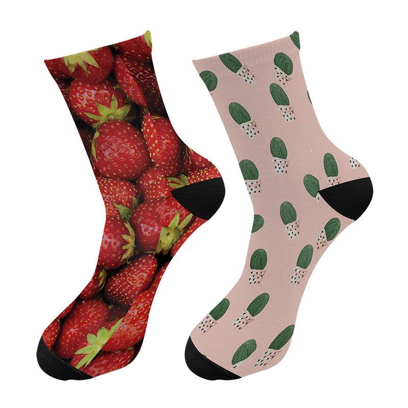 Chaussettes d'équipage humoristiques en Nylon pour hommes   Montantes au genou et personnalisées, chaussettes à Tube Long, ananas avocat fraise
