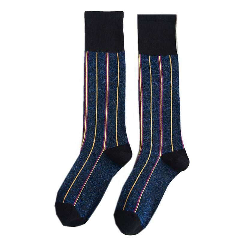 Chaussettes de printemps en coton à rayures   Chaussettes montantes pour femmes, style femme