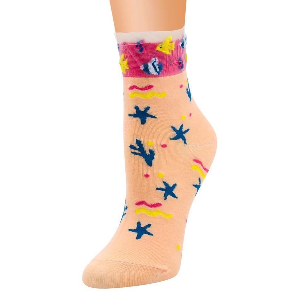 Drôle coton femmes chaussettes mer design lumineux chaussettes respirantes font vos propres chaussettes de haute qualité pas cher