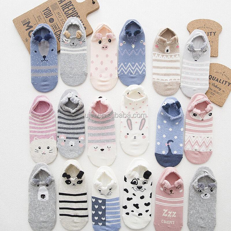 Chaussettes courtes pour femmes   Motif dessin animé 3D, jeunes filles, chaussettes tubulaires, chaussons mignons à la cheville