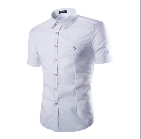AliExpress L'explosion D'amazon Style Hommes Chemise D'été Europe et Amérique Couleur Uni Mince Or Bouton Chemises À Manches Courtes Pour Hommes