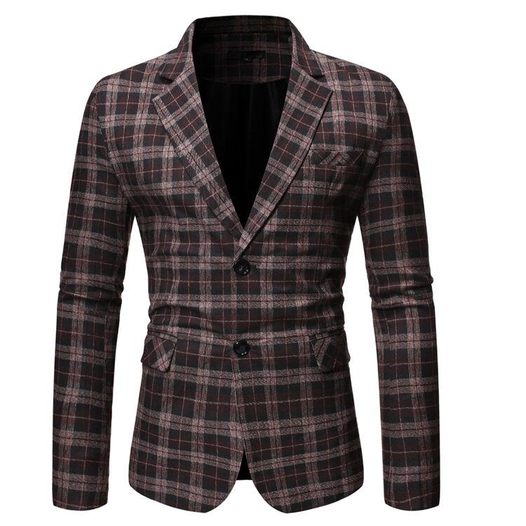 Costume à carreaux pour hommes, grand, décontracté, fendu, simple rangée, haut pour hommes à deux boutons, un vente en gros