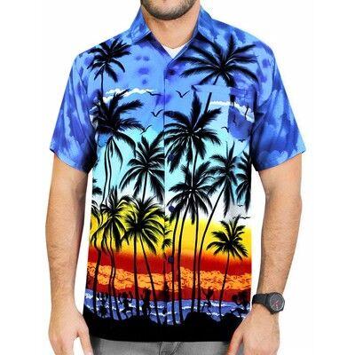 Chemise hawaïenne à manches courtes homme   Maillot de plage imprimé d'arbre de noix de coco, Style l'île, vente en gros