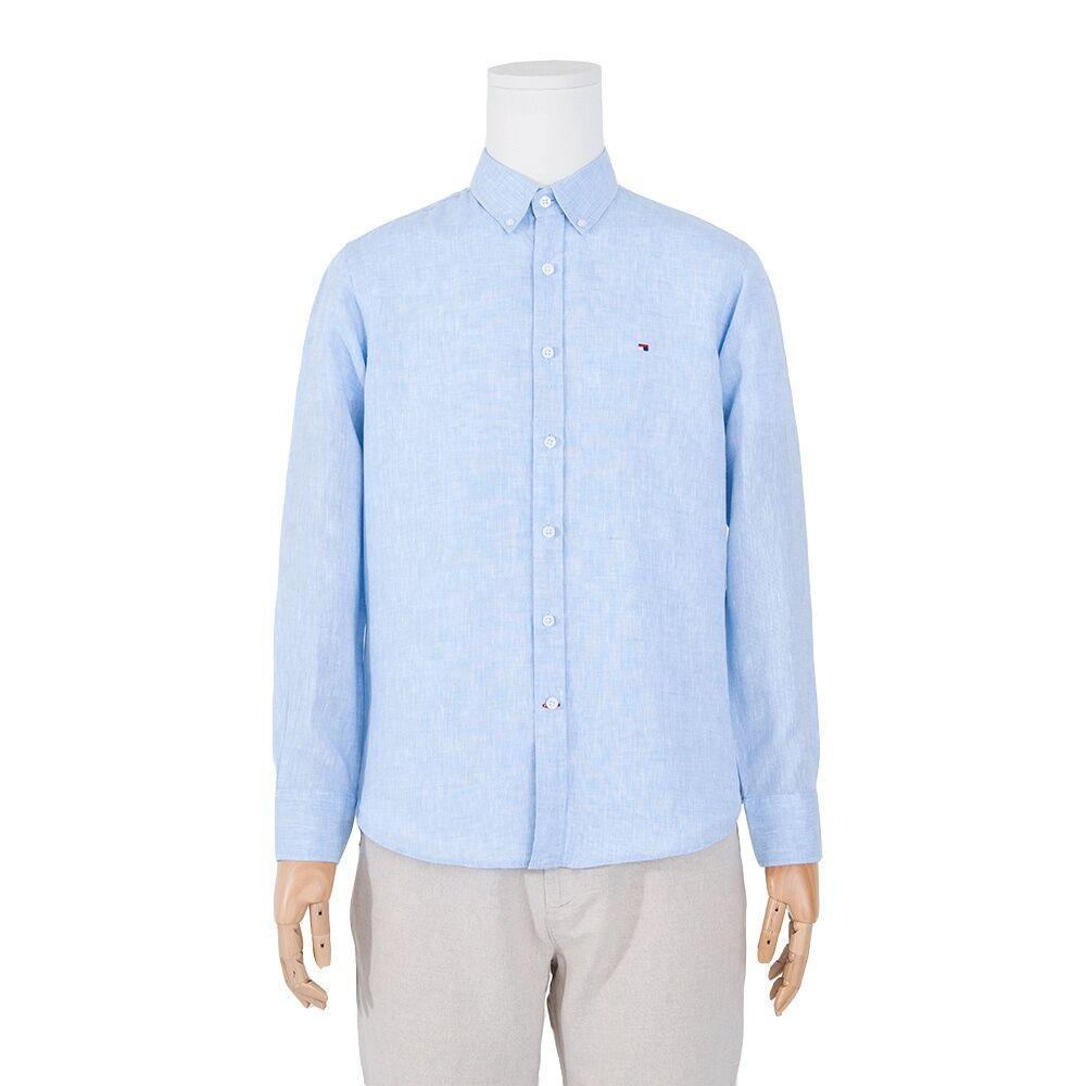 En gros 100% lin à manches longues hommes chemise boucle collier écologique respirant