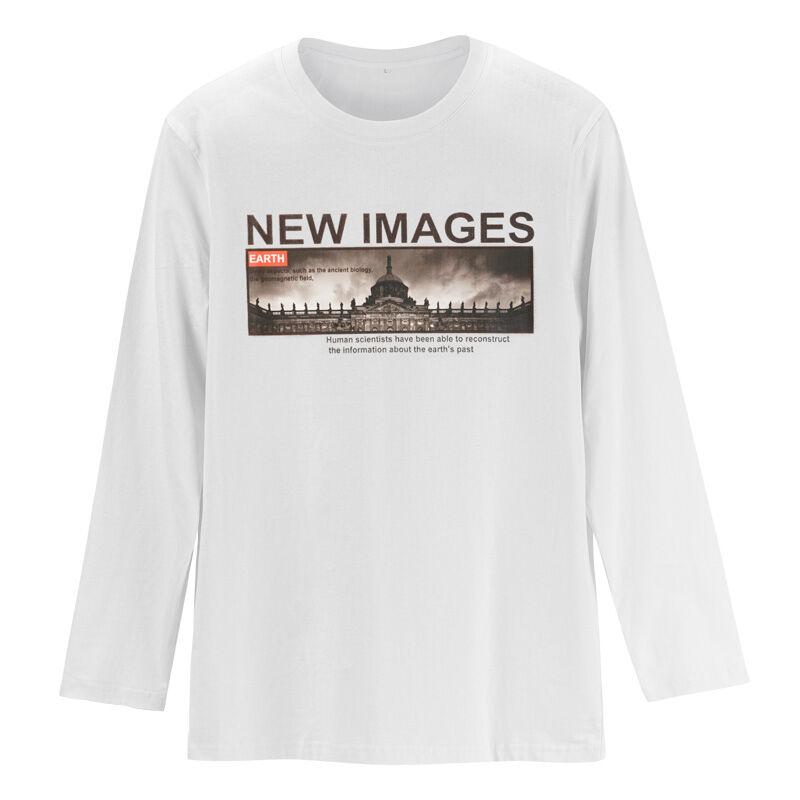 En gros mode 100% coton noir blanc pas cher pour hommes à manches longues t-shirt fabriqué en chine