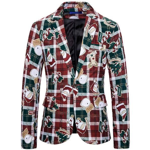 Blouson et veste de costume pour hommes   Imprimé sur un bouton, costume de noël, vêtements pour hommes, 2020