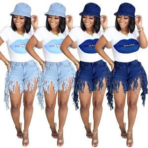 Jeans à franges multicolores femmes   Vêtement ample court, été 2020 - Publicité