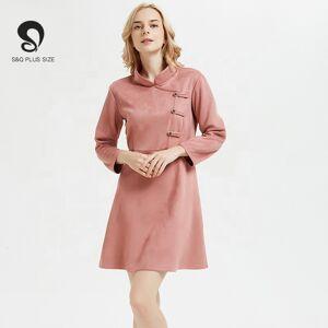 Robe en velours de style chinois   Robe chaude, cheongsam grande taille, courte et slim, robe élégante, automne 2019 - Publicité