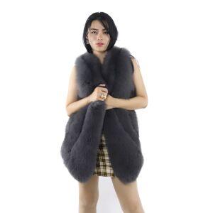 Manteau de fourrure vraie femme   Manteau de fourrure Realfox de Style tendance, veste en vraie fourrure sans manches, vente en gros, 2020 - Publicité