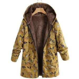 Parka Chic en coton imprimé de fleurs   Manteau d'hiver chaud surdimensionné, veste en molleton à fermeture éclair pour femmes - Publicité
