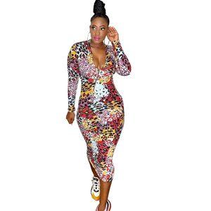 Robe mi-longue décontractée imprimé léopard   De haute qualité - Publicité