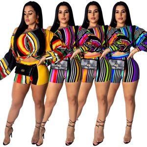 Top court décontracté à rayures latérales   top taille grande, manches bouffantes à col slash, ensemble de deux pièces pour femmes - Publicité