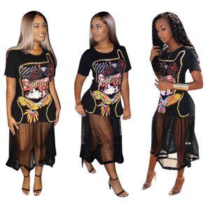 Robe en patchwork transparente maxi mech   t-shirt décontracté imprimé noir pour femmes - Publicité