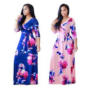Robe longue maxi à manches longues   Imprimé de fleurs, en gros, africain, automne 2020 - Publicité