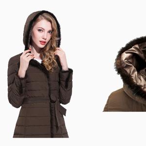 2019 Nouvelle arrivée coréenne version ultra léger femmes doudoune longue à capuche avec bouton recouvert pour l'hiver - Publicité