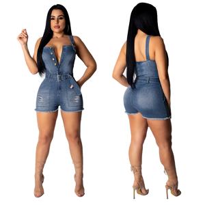 Salopette en jean femmes 2020 moulante courte - Publicité