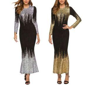Manches longues robe moulante à sequins robes grandes tailles femmes dame élégante - Publicité