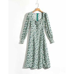 QZ4645 Automne Femmes À Manches Longues À Col Carré Avant Fendu Vert Floral Mince Robe Dames Robes De Plage D'été Robe - Publicité