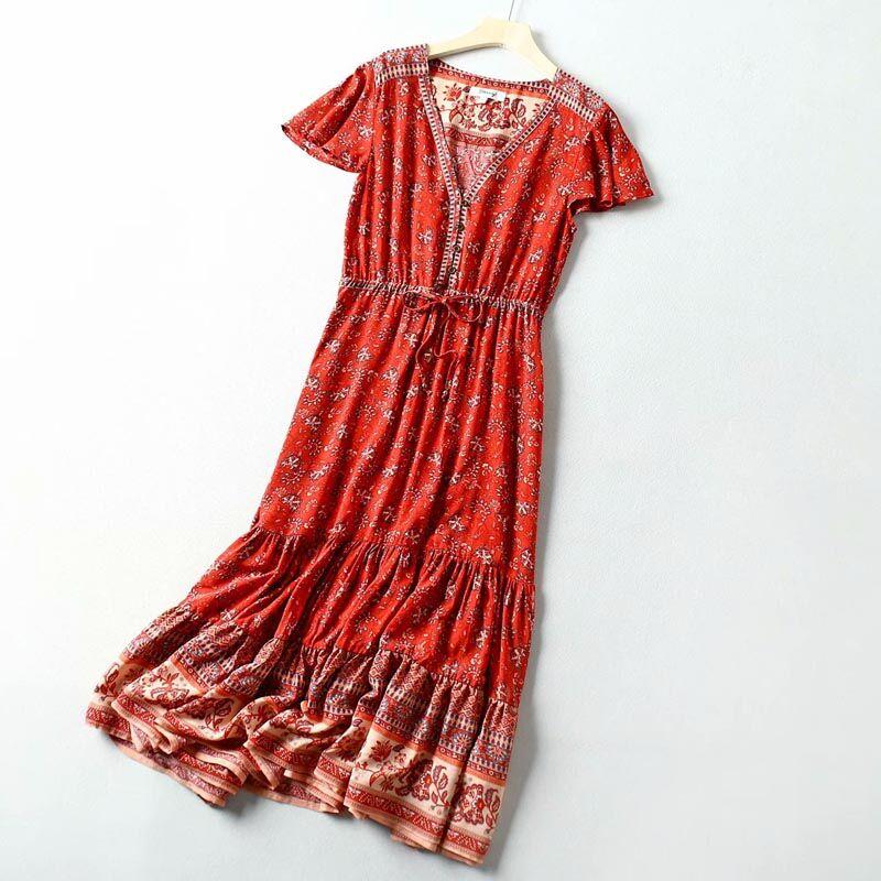 QZ9330 Conception Européenne Courtes Col V Slim Noix De Cajou Imprimé Robe Longue Femmes Bohème Robes Vêtements De Vacances
