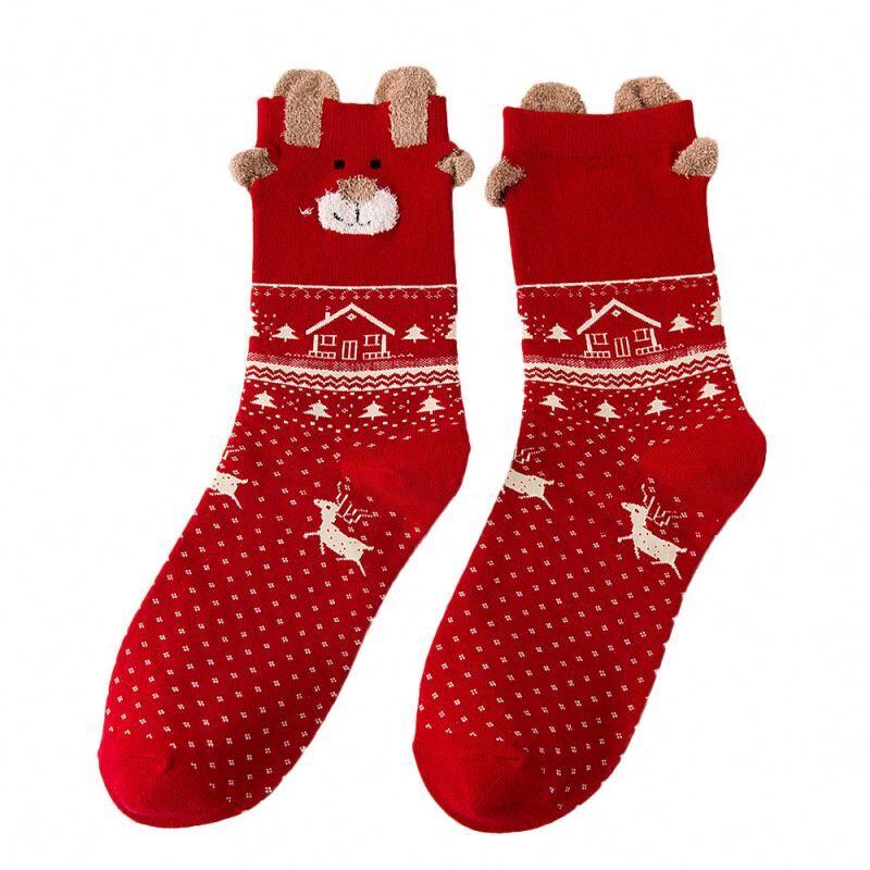 Femmes Chaussettes Casual Hiver Chaussettes De Noël cerf de David Coton Dessin Animé Garder Au Chaud Dame Chaussettes De Noël Cadeau